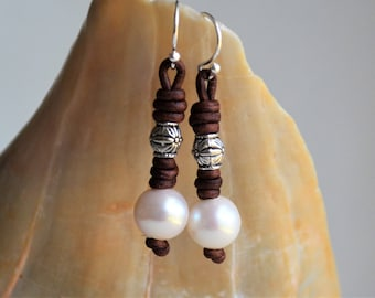 White Pearls On Leather Earrings 925 Sterling Silver Knotted Dangling Earrings Leather And Pearls Boho Bohemian Gifts for Her Yevga