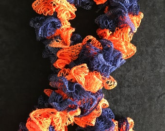Blue and Orange Ruffle Scarf