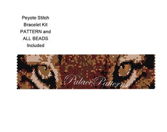 KIT for Tiger Eyes Peyote Bracelet or Bead Loom Bracelet - Pattern and Delica Bead Colors Included - Beading Kit
