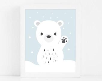 Polar Bear Nursery Print, Baby Animal Nursery Wall Art, Printable Kids Wall Art, Baby Shower Gift, Bear Nursery Art, Digital Download Art