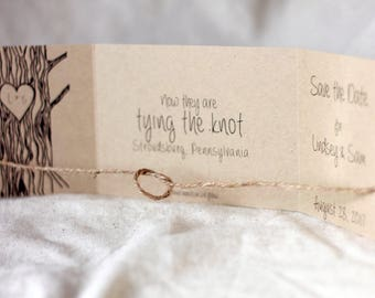 Tying the Knot Save the Date, Tie the Knot Invitation, rustic, Tree with Heart, Tie the Knot Save the Date, Rustic Save the Date set of 35
