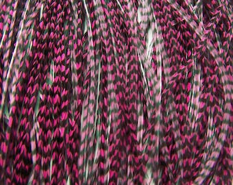 CHERRY PINK SKINNY Grizzly Feather Hair Extensions, 7 to 9 Inches long
