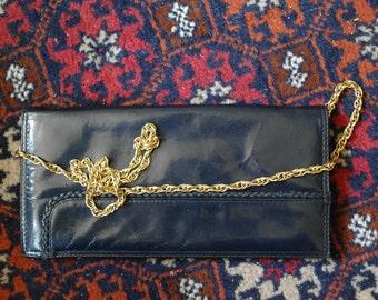 Vintage navy blue leather handbag / wallet