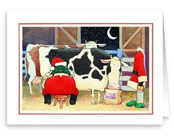Farmer Santa - Boxed Christmas Card - 18 Cards & Envelopes - KX388