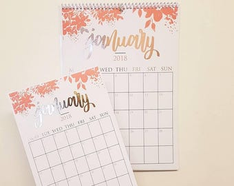 2018 A5/A4 Calligraphy Foiled/Non-Foiled Hanging Wall Calendar
