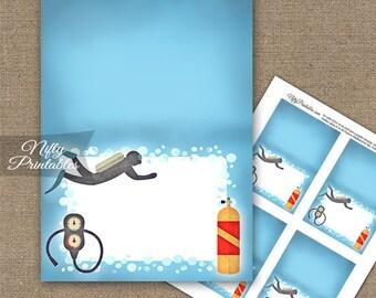 Scuba Food Tents - Scuba Diving Place Cards - Printable Scuba Diver Theme Party Decorations - Scuba Birthday Buffet Cards - SCUBA