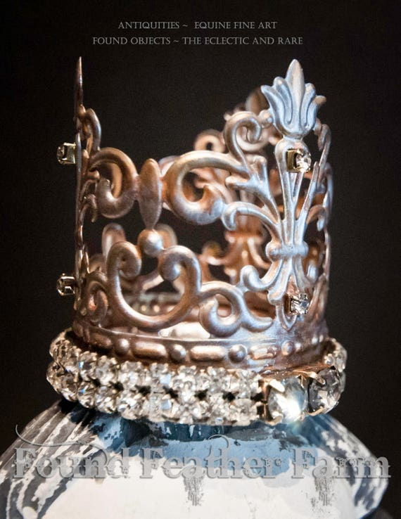 Precious Little Handmade Embellished Tin Crown with Vintage Jewels