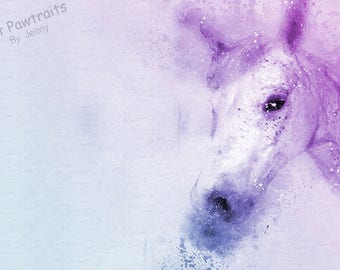 PET PORTRAIT, horse, Pet Portraits, digital painting from photo, pet gift for him, pet gift for her, Horse Portrait, Pet loss Gift, Easter