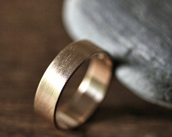 Gold Men's Wedding Band, 6mm Wide Brushed Flat 14k Recycled Yellow Gold Groom's Ring Mens Wedding Ring Gold Ring -  Made in Your Size