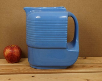 Vintage 1940s Glazed Pottery Pitcher, made for Westinghouse by Hall China Co, periwinkle blue, mid centruy modern