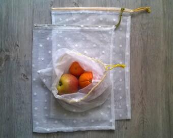 1 VEGAN Zero Waste Fresh Produce Bag / Draw String Bag / Bulk Shopping Bag / Breathable Bag