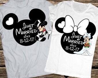 Disney honeymoon shirts, Anniversary disney shirts, Married since shirts, Bride and Groom, Disney wedding shirts, Disney just married shirts