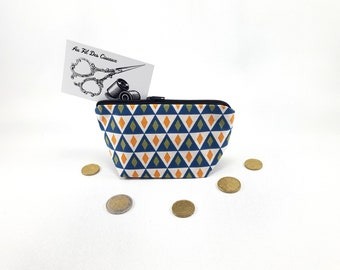 Wallet / / women //Porte fabric coin purse / / pencil case / / companion - the blue Harlequin
