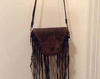 Handmade bohemian fringe purse
