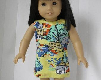 Sheath Dress for 18 inch dolls in Vintage Village print fabric.