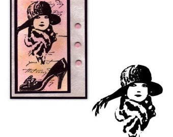 Flapper Lady with Scarf and Hat sm unmounted rubber stamp art deco fashion, woman, Mother's Day, Roaring 20's style, Sweet Grass Stamps #2