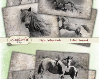 75% OFF SALE Horses - Digital Collage Sheet Digital Cards C107 Printable Download Image Tags Digital Horse Atc Card ACEO Black&White Cards