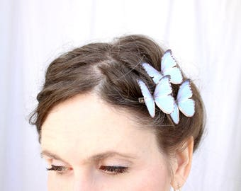 3 whither I wander silk butterfly hair clips . blue butterflies . gifts for birthday, wedding, bridesmaids, parties . costume . handmade
