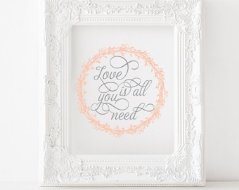 Love is all you need Print, Love is all you need Printable, Beatles print, Beatles printable, Beatles nursery, All you need is love decor