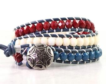 4th July Bracelet Patriotic Jewelry Leather Bracelet Americana 4th of July Jewelry Red White Blue Stars and Stripes USA Wrap Bracelet Beaded