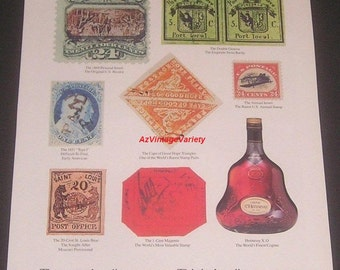 1987 Rare Postage Stamps Illustration, Hennessy XO Cognac, Vintage Print Ad, Philately, Stamp Collecting
