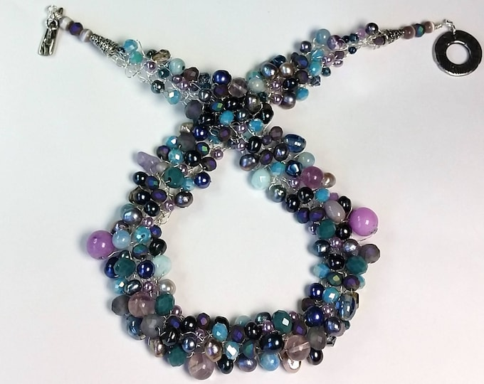 Wire Crocheted Necklace Set - Collar Necklace - Aqua and Purple Jewelry - Pearls and Crystals