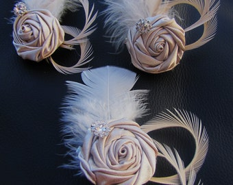 Set of 3 champagne satin rosette with feather bridesmaid Fascinators wedding party headpieces