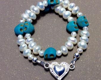 Pearl and skull collar, cat collar, small dog collar