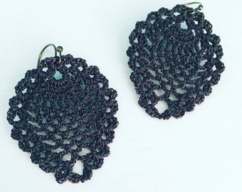 Sheridan Crochet Earrings in Charcoal, Smoke Grey, Lace Doily Earrings, Boho Chic, Dangle Earrings, Unique Earrings, Lightweight Earrings