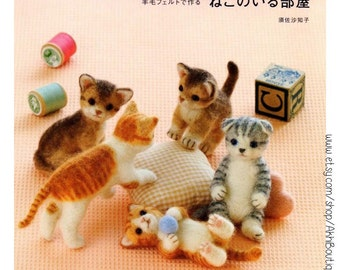 Needle Felt Cute Cats Kawaii Craft eBook,PDF Instant Download Toy Wool Felted Kitty Cat Keychain