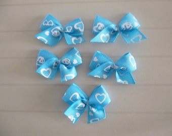 Set of 5 bows, applique hearts colors