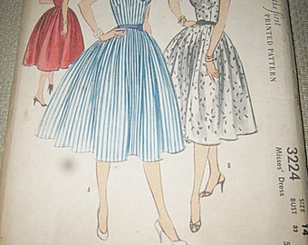 McCall's The First Printed Pattern #3224, Size 14 Flared Skirt Dress Pattern, 1950's Sewing Pattern