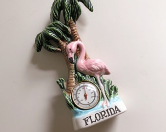 Cute vintage pink flamingo thermometer Florida souvenir , vintage pink flamingo souvenir, vintage Florida souvenir, vintage palm trees decor
