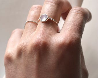 Moonstone Hexagon ring, Sterling Silver