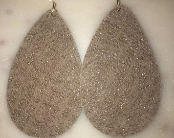 Taupe Shimmer Leather Earrings