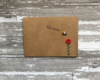 Valentine Cards, Bee Mine, Valentines Day Card, Bee Card, Valentines Day Card for Him, Handmade Cards, Love Card, Greeting Cards, Cute Cards