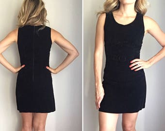 Vintage 90s Geesy Velvet Mini Black Buckle Front Dress Sz 0 XS
