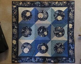 Wall Hanging, Japanese Circles Wall Hanging, Table Topper, Japanese Fabric Wall Hanging