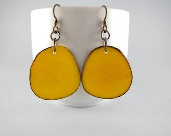 Sunshine Yellow Tagua Nut Eco Friendly Earrings with Free USA Shipping #taguanut #ecofriendlyjewelry