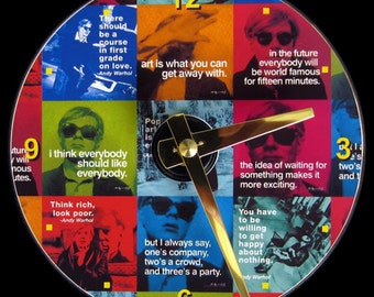ANDY WARHOL Quotes Wall Clock - CD Size, 4.75 inch diameter. Pop Art. Famous artist. Fame and celebrity. Clock makes a nice gift too.