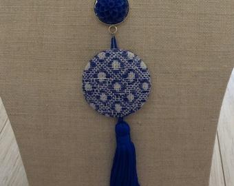 Blue embroidered geometric Choker