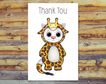 Printable Thank You Cards, Cat Card, Instant Download, Printable Greeting Cards, Cute Cat, Digital Download, Digital Cards, Cat Art