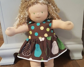 Waldorf Doll Clothes - 14 to 16 inch - Polka Dots and Pears Dress