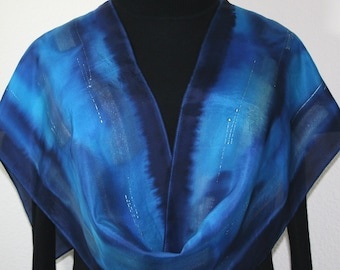 Blue Silk Scarf Hand Painted Silk Shawl LOVE TIDE, in Several SIZES. Birthday Gift, Bridesmaid Gift, Christmas Gift. Fast Shipping