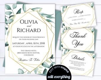 Eucalyptus Gold Geometric Wedding Invitation Eucalyptus Wedding Invitation Printable Wedding Invitation Template Botanical Wedding Invite