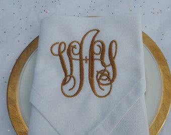 Monogrammed Napkins Set of 4 PICK YOUR COLORS - 53 to choose from