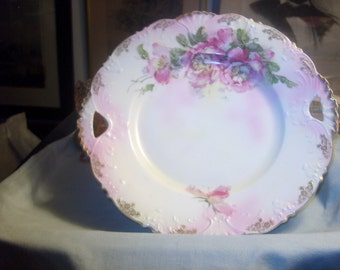 Antique Vintage Pink Rose Plate Platter