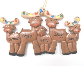 Personalized  Deer Family of 5 Christmas Ornament / family ornament / reindeer family