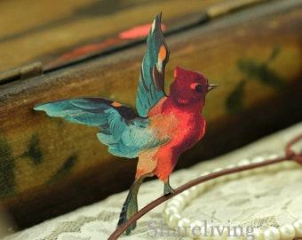 4pcs Wooden Vintage Red Bird Charms / Pendants HW012B