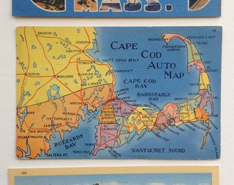 Cape Cod postcards, Greetings from Cape Cod, Cape Cod auto map, Cape Cod poem by John Chipman, Cape Cod ephemera, Cape Cod Souvenir